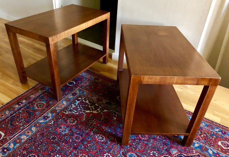 Pair of Robsjohn-Gibbings Walnut Side Tables In Good Condition For Sale In Hudson, NY