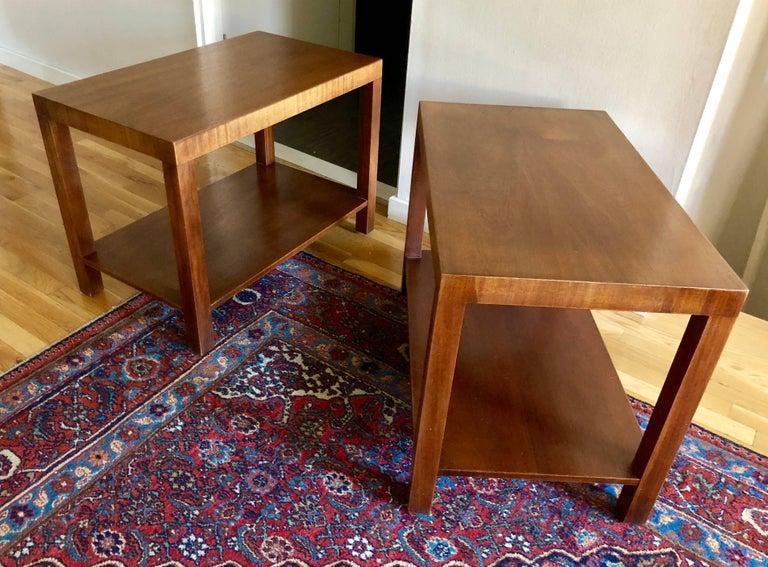 Mid-Century Modern Pair of Robsjohn-Gibbings Walnut Side Tables For Sale