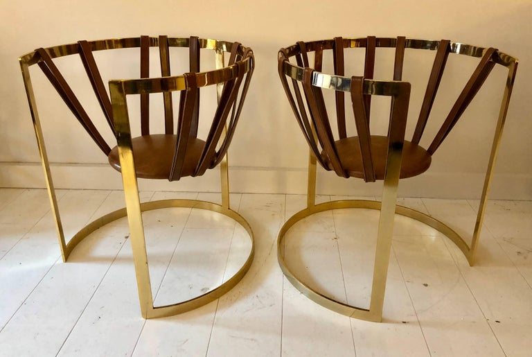 Mid-Century Modern Pair of Brass and Leather Sling Chairs For Sale