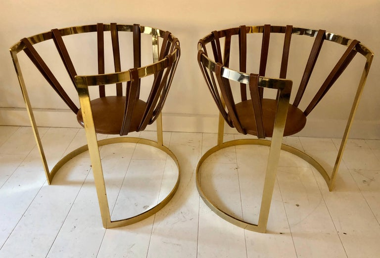 Late 20th Century Pair of Brass and Leather Sling Chairs For Sale