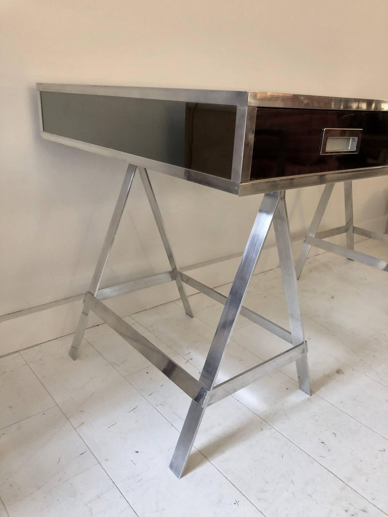 Vintage Alessandro Albrizzi Trestle Desk In Good Condition For Sale In Hudson, NY