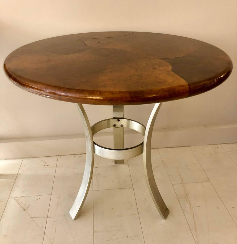 Goatskin and Aluminum Center Table In Good Condition For Sale In Hudson, NY