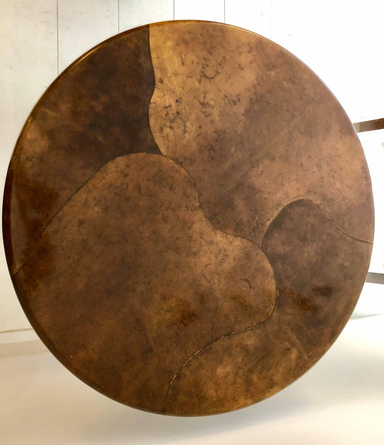 American Goatskin and Aluminum Center Table For Sale