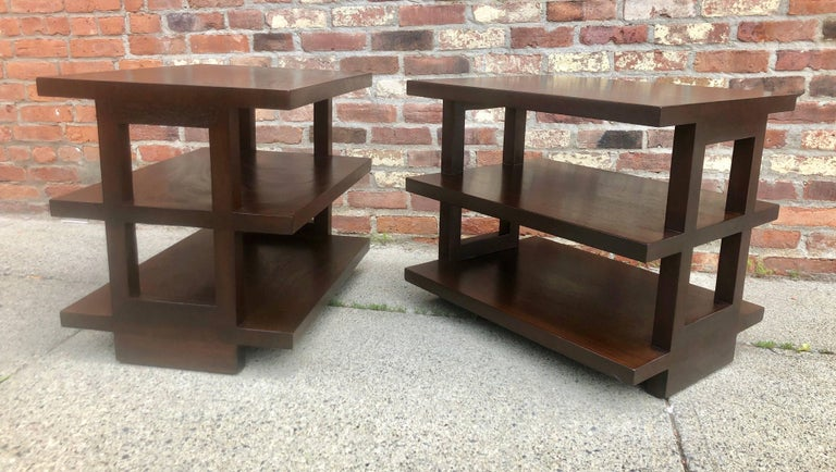 American Pair of Dunbar Three-Tier Walnut End Tables For Sale