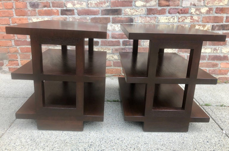Mid-Century Modern Pair of Dunbar Three-Tier Walnut End Tables For Sale