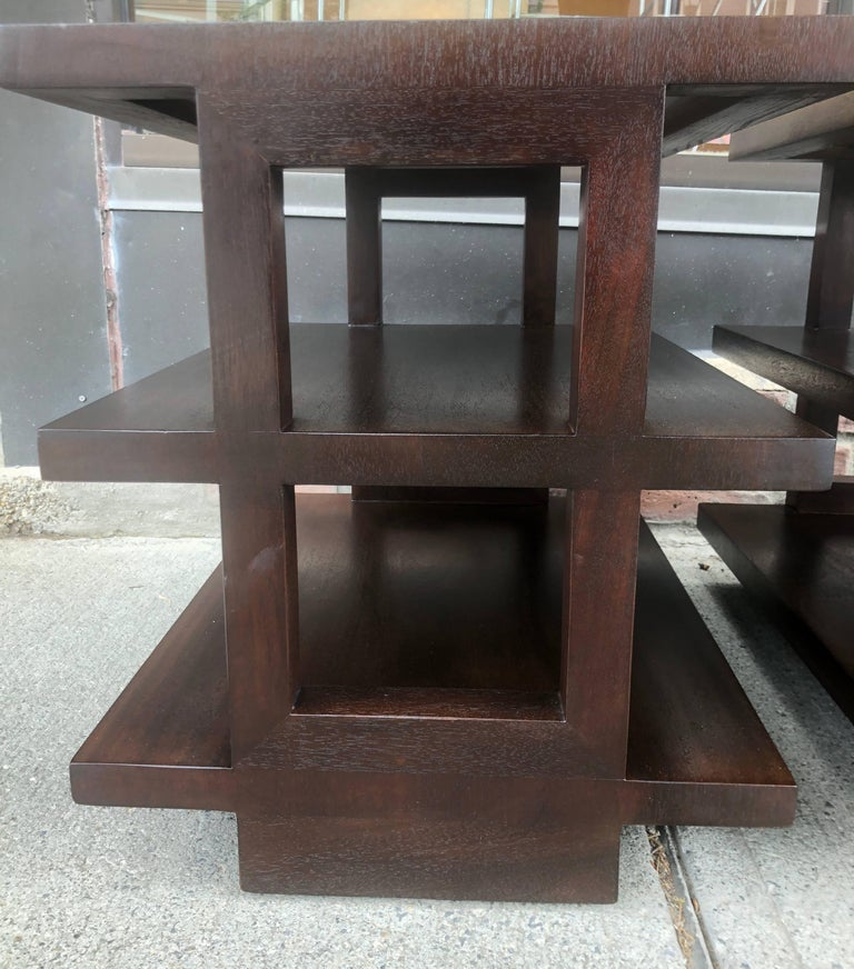 Pair of Dunbar Three-Tier Walnut End Tables For Sale 3