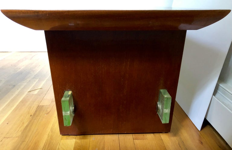 Mahogany and Saint Gobain Glass Cocktail Table Attributed to Adnet For Sale 2
