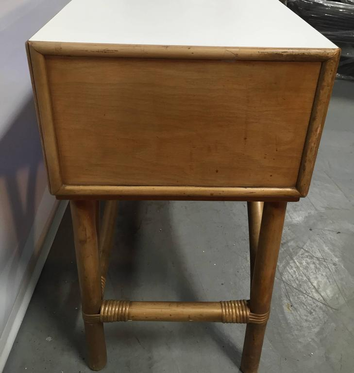 Birch and Rattan Console Table by Tommi Parzinger In Good Condition For Sale In Hudson, NY