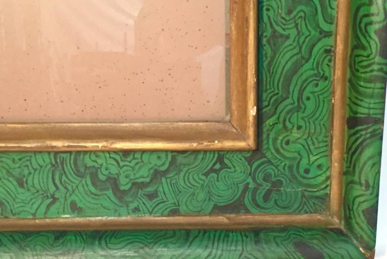 1930s hand-painted trompe d'oile malachite and gilt mirror from IMM, Florence.