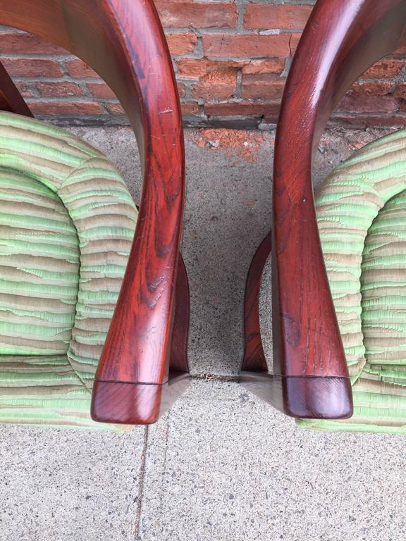 Carved Pair of Oak Onassis Chairs by Karl Springer