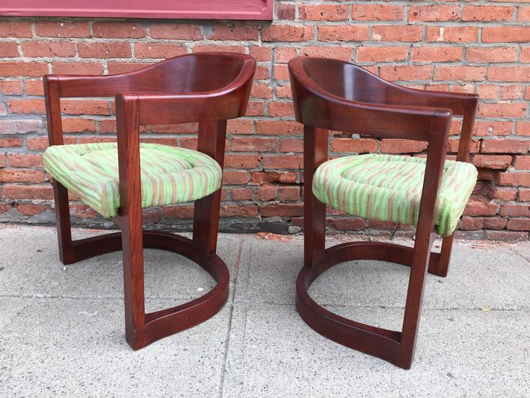 American Pair of Oak Onassis Chairs by Karl Springer