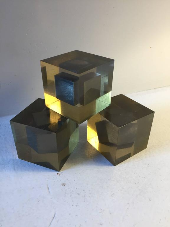 Carved Enzo Mari Lucite Sculptures For Sale
