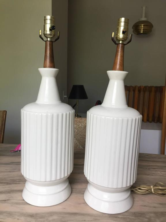 Italian Pair of Ceramic Table Lamps For Sale