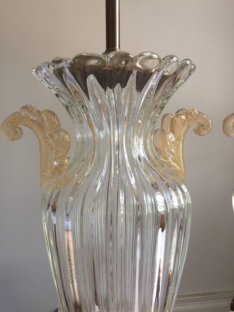 Pair of Large Archimede Seguso Table Lamps 4