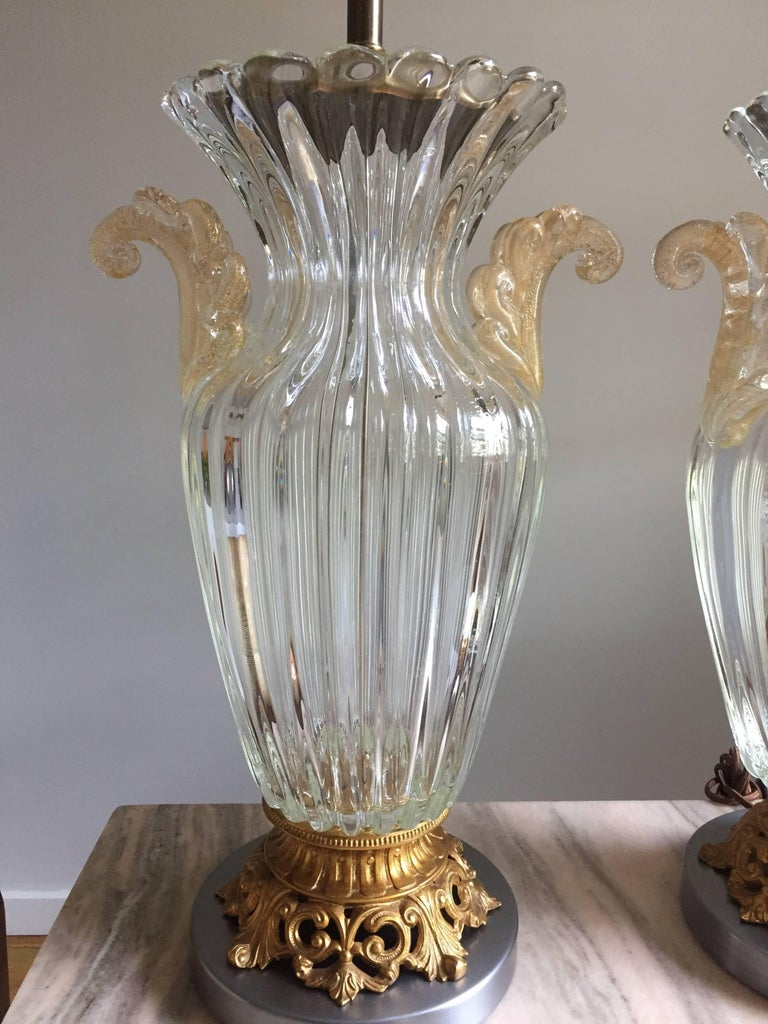 Pair of Large Archimede Seguso Table Lamps 7