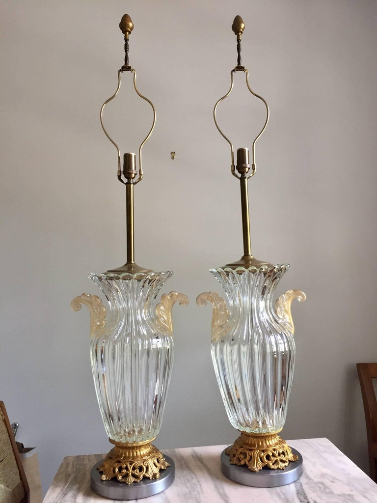 Pair of Large Archimede Seguso Table Lamps 2