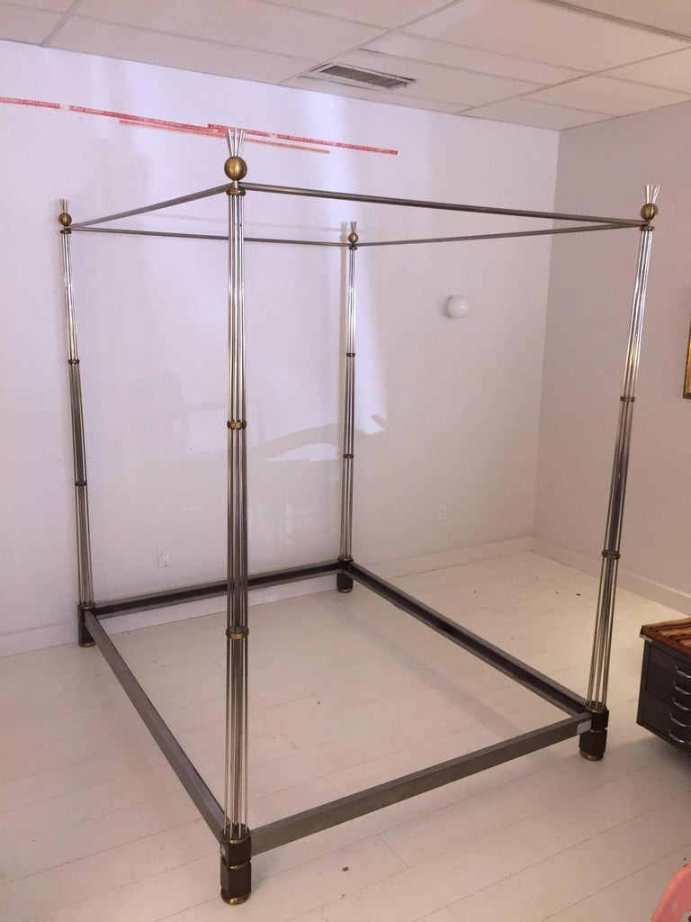 American 1970s Steel and Bronze Canopy Bed For Sale