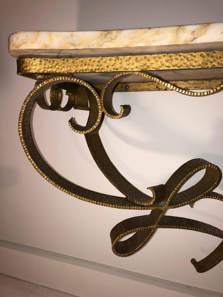 Exceptional Wall-Mount Gilt Iron Console by Pier Lugi Colli, circa 1940s For Sale 4