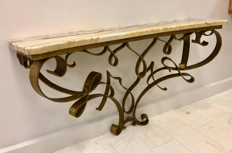 Exceptional Wall-Mount Gilt Iron Console by Pier Lugi Colli, circa 1940s For Sale 2