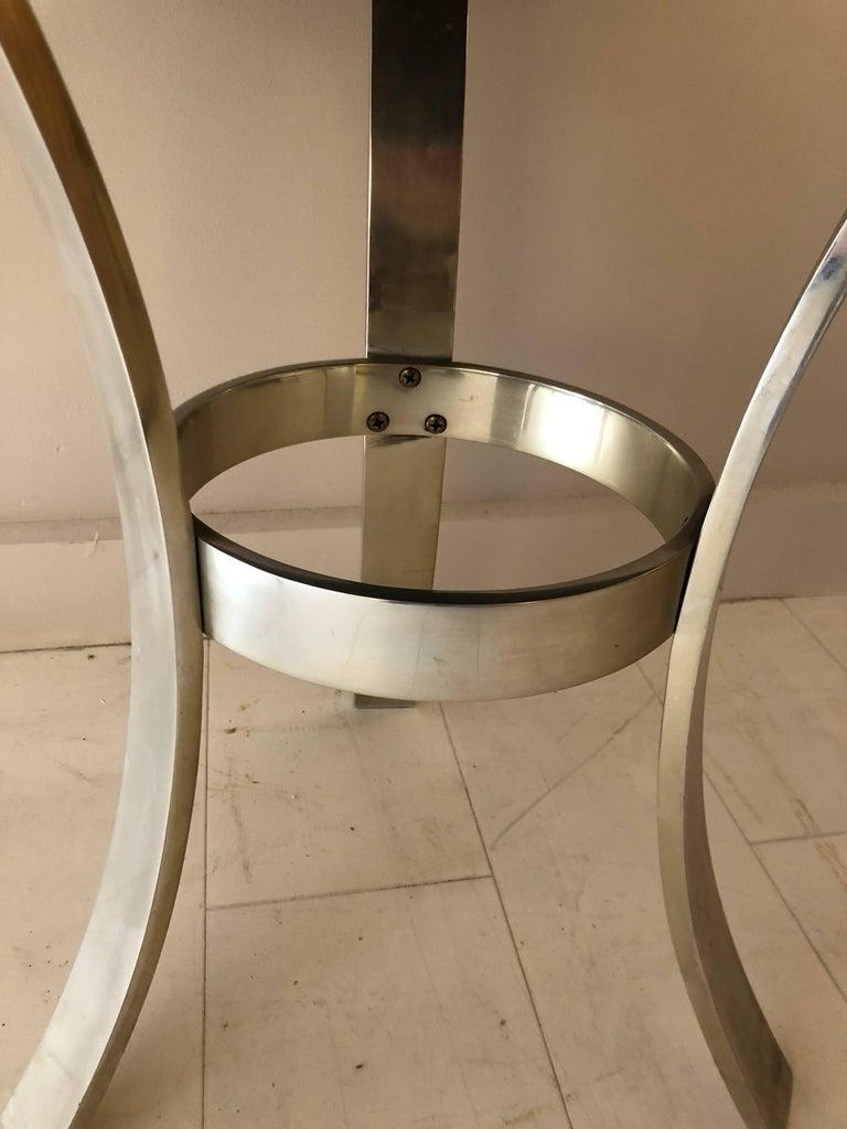 Modern Goatskin and Aluminum Center Table For Sale