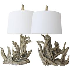 Pair Driftwood Lamps with Finials