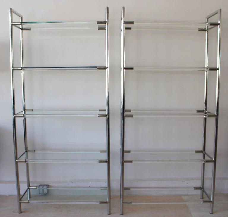 Mid-Century Modern Pair of Chrome and Lucite Etageres For Sale