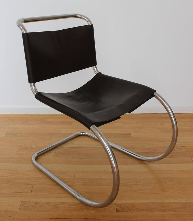 Classic set of tubular chrome MR chairs, originally designed in 1927, by Ludwig Mies van der Rohe in vintage original chocolate brown leather.