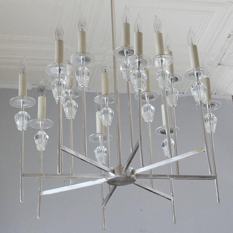 American Tommi Parzinger Style Chandelier For Sale