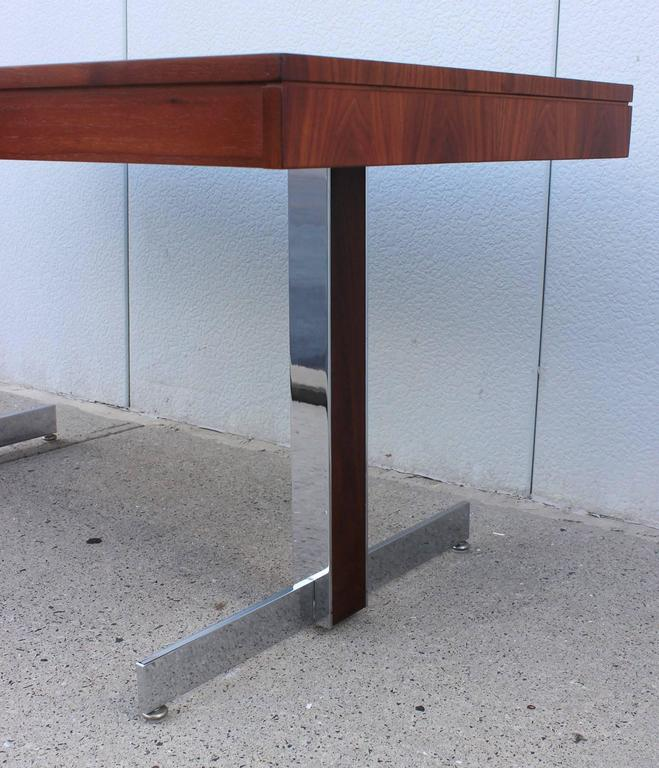 American Rosewood and Chrome Desk For Sale