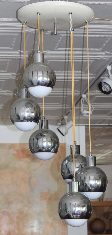 Mid-Century Modern Italian Six Drop Pendant For Sale