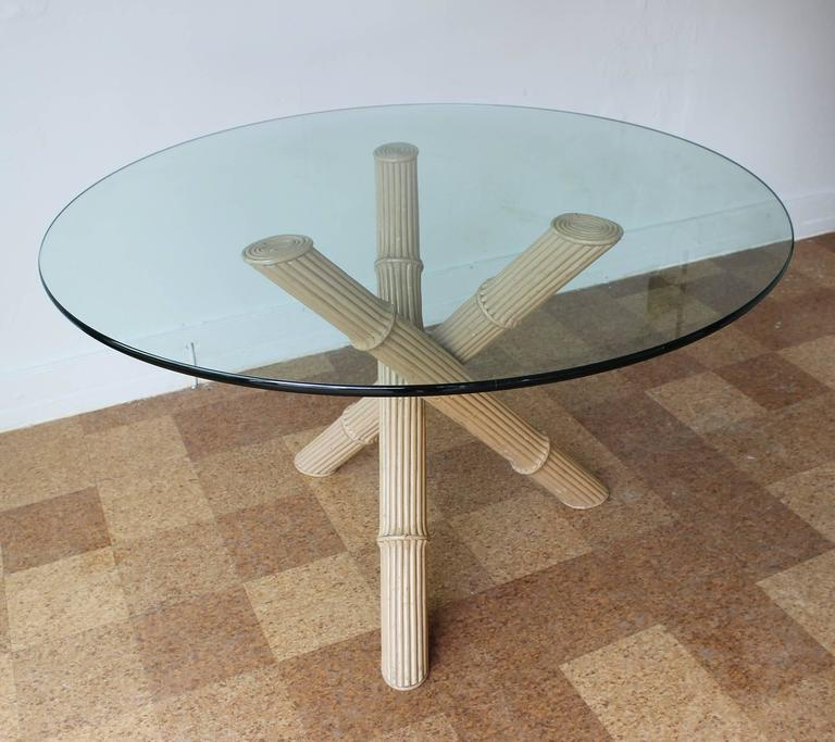 Mid-Century Modern Italian Bamboo Tripod Dining Table For Sale