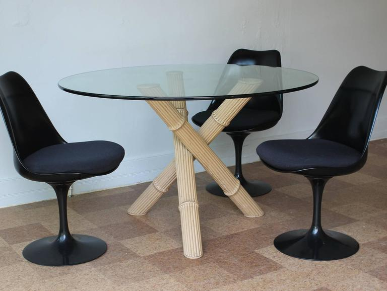 Glass Italian Bamboo Tripod Dining Table For Sale