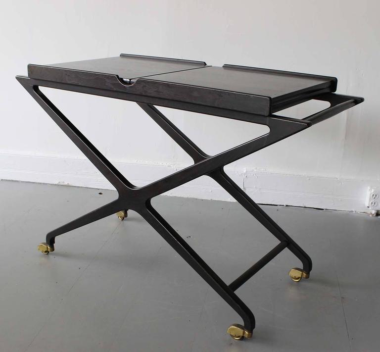 Italian Cesare Lacca Expandable Bar Cart For Sale