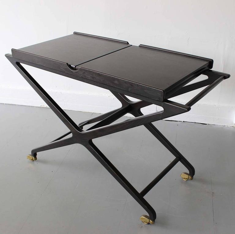 Cesare Lacca Expandable Bar Cart In Good Condition For Sale In Southampton, NY