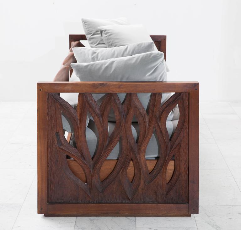 Phillip Lloyd Powell Sculpted Walnut Three-Seat Sofa, USA, 1960s 3