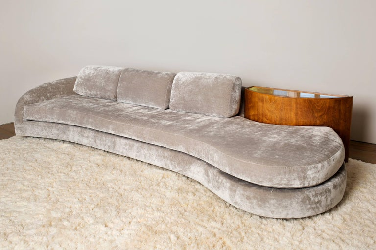 Serpentine Sofa with Demilune Table, USA, 1970s 2