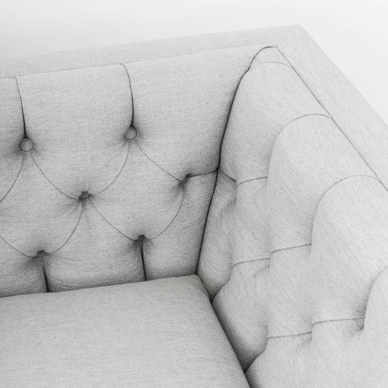 James Mont, Pair of Tufted Sofas, USA, circa 1952 For Sale 1
