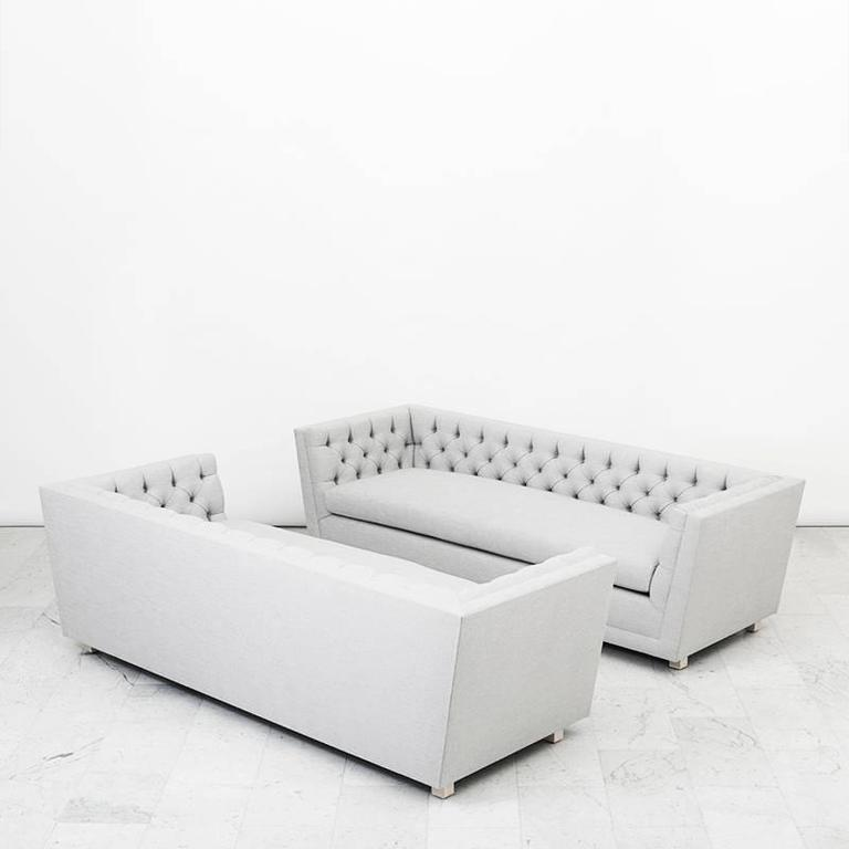 James Mont, Pair of Tufted Sofas, USA, circa 1952 For Sale 3