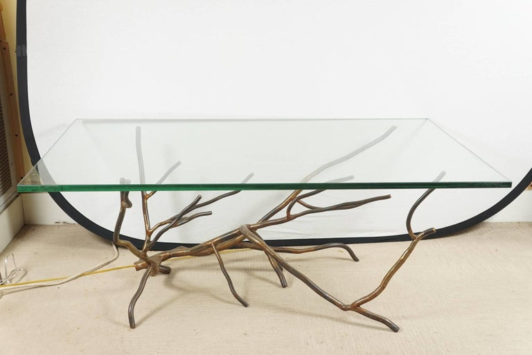North American Custom One of a Kind Hand made in America, Glass Top Coffee Table by Jeff Budd For Sale