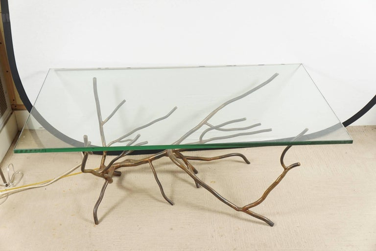 Bronzed Custom One of a Kind Hand made in America, Glass Top Coffee Table by Jeff Budd For Sale