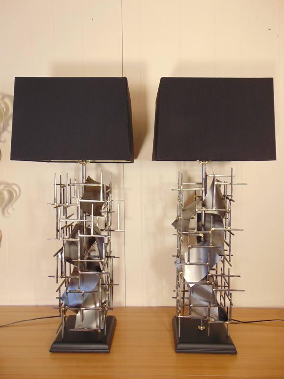 Contemporary Pr of Brutalist Table Lamps hand made In steel, in the USA, by: Lou Blass,  For Sale