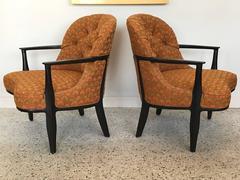 Pair of Classic Dunbar Janus Armchairs in Larsen Fabric