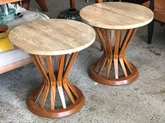 A Pair of Edward Wormley Dunbar Sheaf of Wheat Tables With Travertine Tops