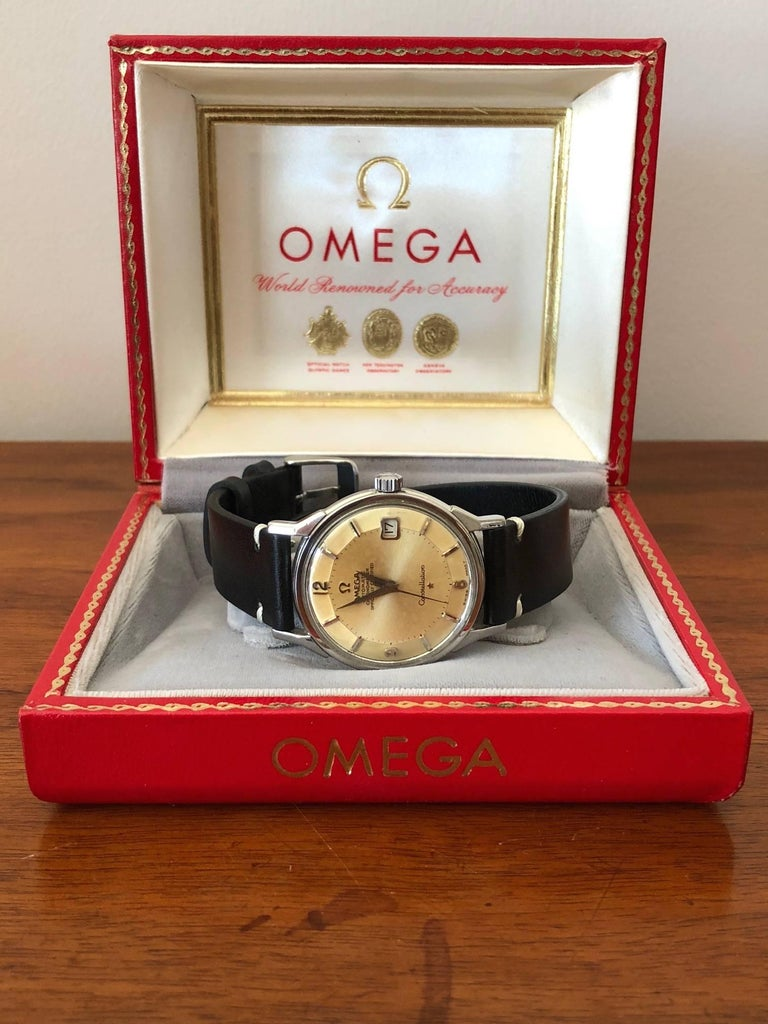 Modern Omega Constellation Pie Pan with Boxes and Price Tag, circa 1966 For Sale