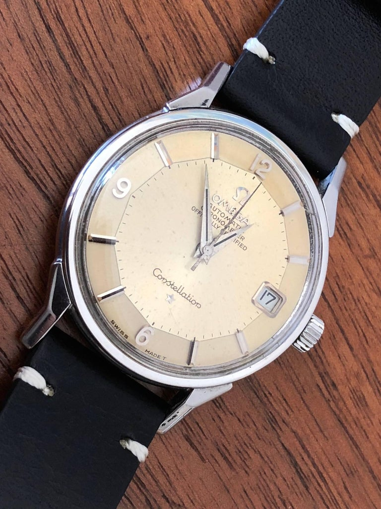 Mid-20th Century Omega Constellation Pie Pan with Boxes and Price Tag, circa 1966 For Sale
