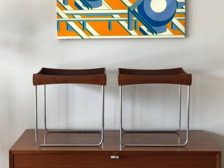 Mid-Century Modern Hermann Bongard Norwegian Enamel Tray Tables For Sale