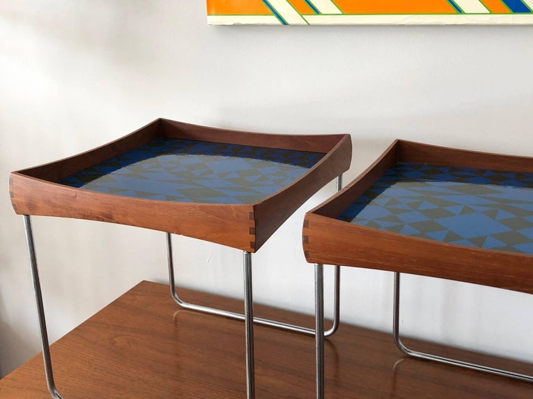 Hermann Bongard Norwegian Enamel Tray Tables In Good Condition For Sale In St.Petersburg, FL