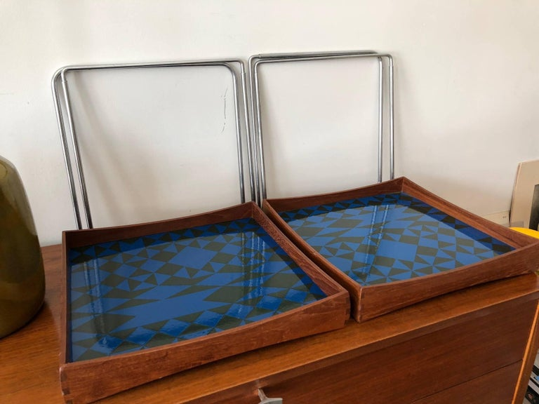 Hermann Bongard Norwegian Enamel Tray Tables For Sale 1