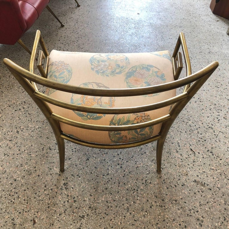 An unusual Italian brass chair with Greek key design, circa 1960s.