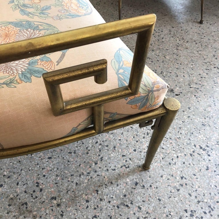 Classical Greek Italian Brass Chair with Greek Key Design For Sale